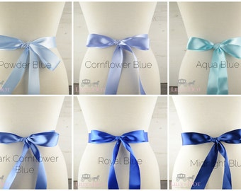 Blue Wedding Sash - Bridal Sash - Bridesmaid Sash - Flower Girls Sash - Bridal Belt - Blue Bridesmaid Sash - Blue Flower Girls - Blue Sash
