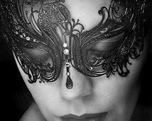Black Swan, New Masquerade Mask, Laser Cut Masquerade Ball Mask, Detailed with Clear Swarovski Rhinestones,Masquerade Mask (For Her)