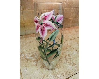 Hand Painted Stargazer Lily Plumeria Glass Vase, Mothers Day gift, Housewarming gift, Bridal shower gift