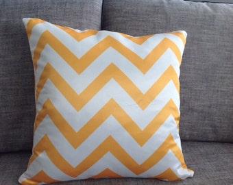 Orange Chevron Pillows - Zig Zag Pillow Cover With Zipper 45cm x 45cm Double Side Printed