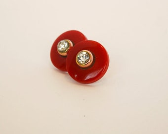 Red Lucite and Rhinestone Earrings