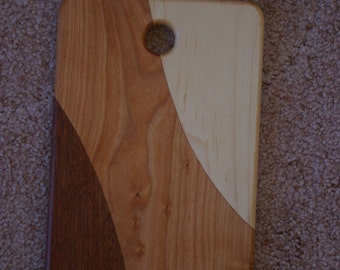 Hand Crafted Maple Cherry and Mahogany Cutting Board