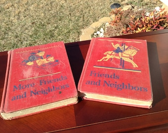 Friends and Neighbors and More Friends and Neighbors / Vintage Children Books / Basic Reader/ 1940's / Set of Two