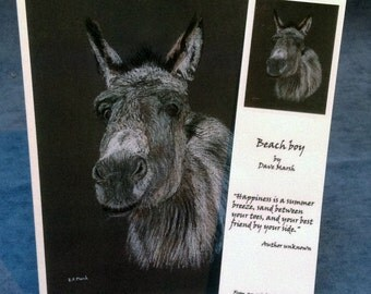 """Card & Bookmark: """"Beach boy"""" -  donkey card with bookmark, animal card, card for friend, love card,  from a pastel painting by Dave Marsh"""