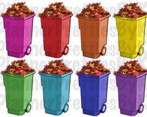 Yard Trash Can stickers | Set of 16