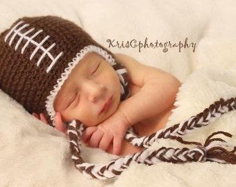Football Hat, Newborn Football Hat, Baby Football Beanie, Sports, Newborn Photo Prop, Crochet Football Hat, Boy Photo Prop, Infant