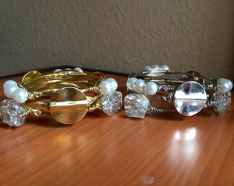 The Gold or Silver Metal Stack, Set of 3 Gold or Silver Wire Wrapped Beaded Bangle Bauble Bracelets with 1 Coin, 1 Pearl, & 1 Clear