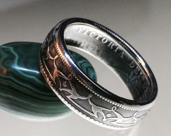 Striking Silver Newfoundland 50 Cent Coin Ring