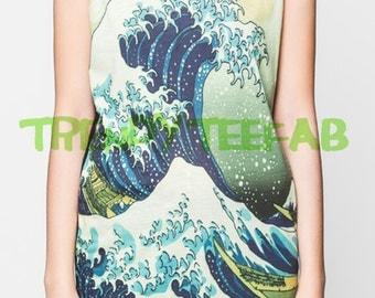 The Great Wave off Kanagawa Top Women Unisex Tanks Tops T-Shirt Singlets Shirt Size S , M , L
