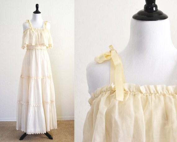 1970s Boho Romantic Gauze Wedding Dress Maxi Dress