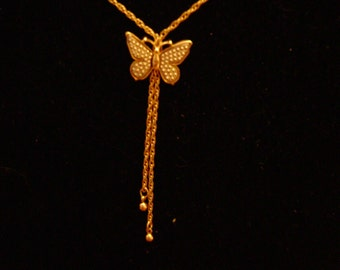 vintage  BUTTERFLY NECKLACE vintage costume jewelry teen jewelry