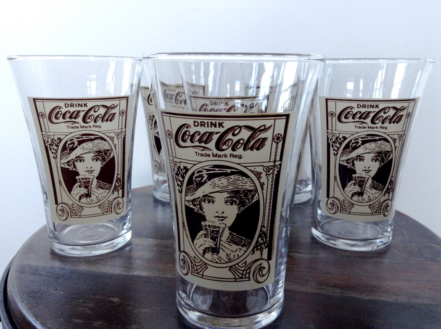Vintage Reproduction Coca Cola Glasses Set Of 6 1970s Tapered