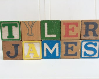 Vintage Wooden Alphabet Blocks - Customized with your choice of name or word - You pick the letters!