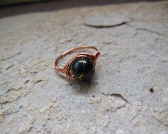 Black and Gold Veiny Copper Wrapped Ring