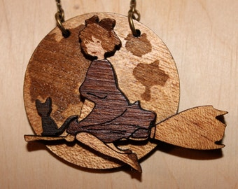 Anime Jewelry - Witch Kiki Pendant - Kiki's Delivery Service - Wooden Pendant - Wooden Jewelry - Natural Jewelry