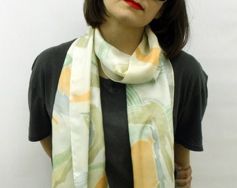 Silk scarf, Pastel silk scarf, long silk scarves, White silk scarf, White and orange, Gift wrapped scarf, Summer scarves, gift for mom
