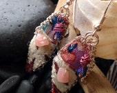 Velvet Earrings Mixed Media Fiber Jewelry