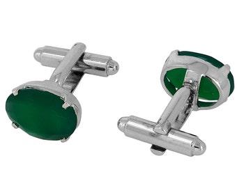 925 Sterling Silver Natural Green Onyx Gem Stone Cufflinks