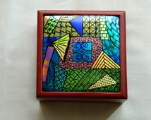 Medium Wooden Box with Dichroic Zentangle Inset, Ring Box, Trinket Box, Home Decor, Housewarming Gift, Gift for Her, BX1105