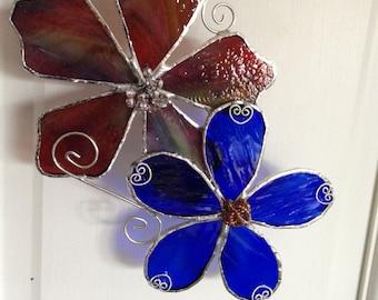 Stained Glass Flower Suncatcher, Blue & Multi-color