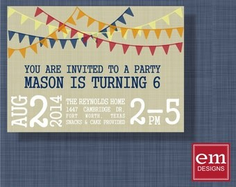 Birthday Party Invitation Child's birthday w/ pennants, DIY print, custom, red, navy, blue, yellow, orange, banners, kid birthday