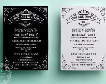 Birthday invitation template, printable birthday invitation design, black and white invite, printable vintage invitation template custom