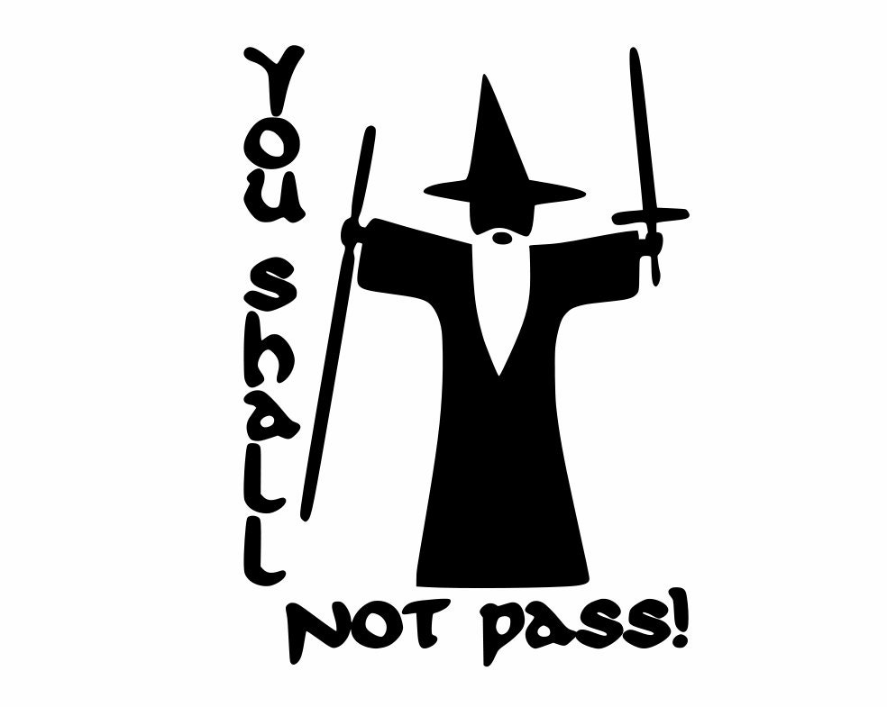Gandalf Lord Of The Rings You Shall Not Pass Vinyl Decal