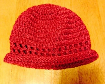 Bright red hat for men and women ; maybe cutomized for children
