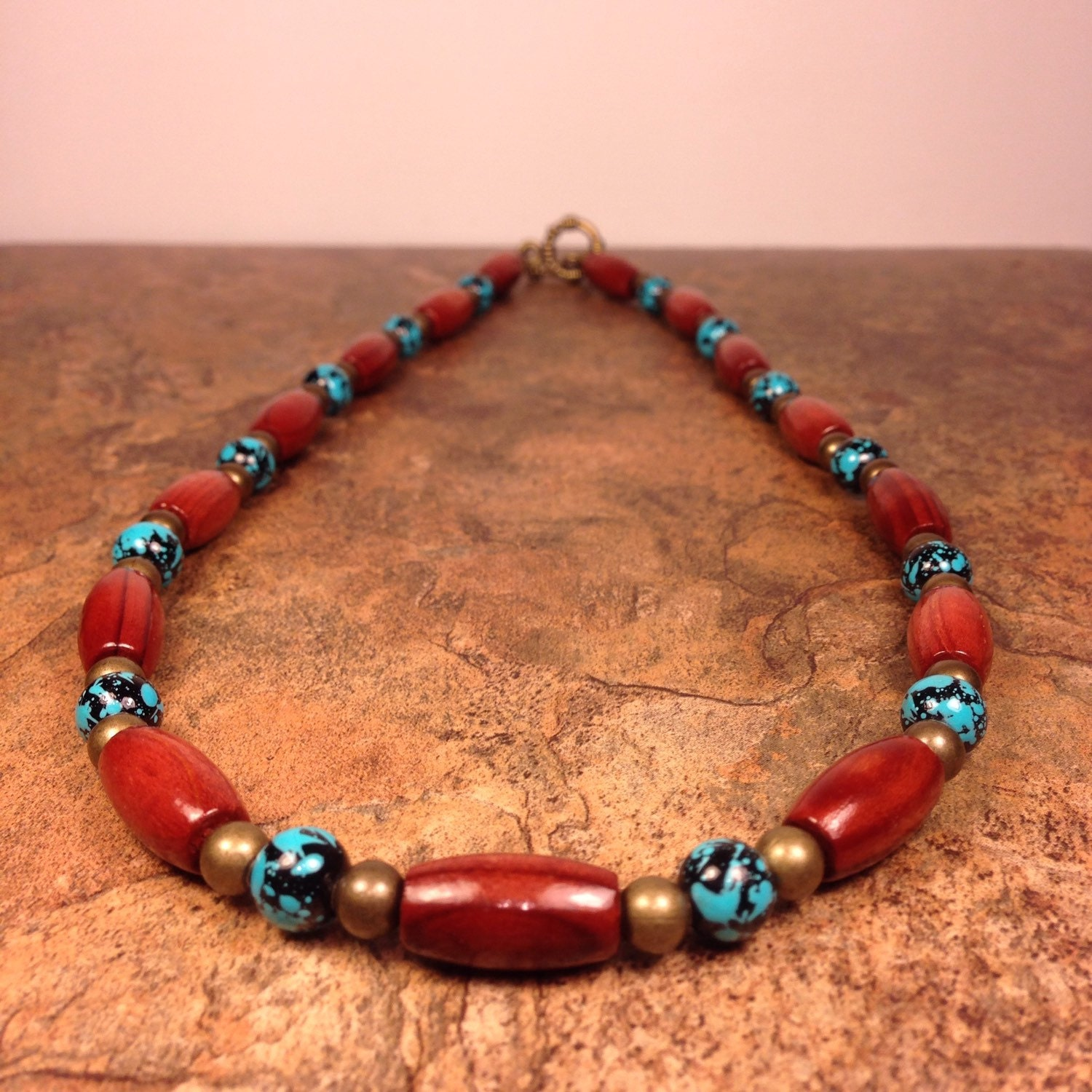 wood and glass bead necklace s necklace s by