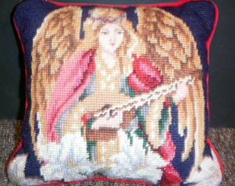 Angel with a Mandolin Tapestry Pillow