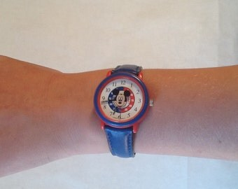 RESERVED For Kristi...Disney Mickey Watch Youth Size Model DISQA22 Blue Strap Vintage Mickey Mouse Watch