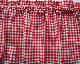 Red and White Check Handmade Curtain Valance