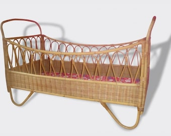 French baby bed Crib vintage bamboo & rattan 1960