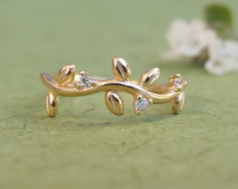 CZ Leaves Branch Ring, 14K Yellow Gold Plated Ring