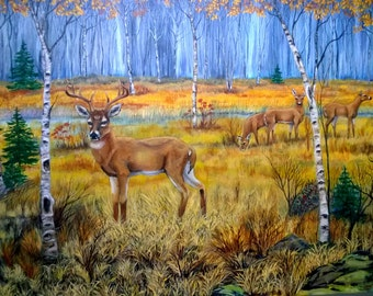 "Deer in acrylic 36x24"" on stretched canvas, unframed"