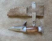 Custom Knife with Helle Blade, Hawaiian Koa Wood and Antler Handle, Elkskin sheath