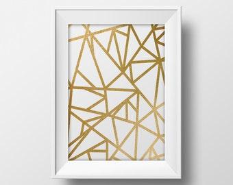 Geometric mosaic printable wall art, printable gold foil design poster, modern gold art print, minimalistic art print modern poster mosaic