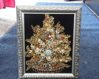 Original vintage jewelry christmas tree framed beautiful unique great gift,one of a kind.