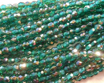 50 4mm Czech Teal, Blue Green, Viridian Celsian glass beads, round faceted firepolished beads, C5550