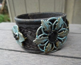 Black Brass Pendant Turquoise Verdigris Floral Distressed Up-Cycled Leather Cuff Bracelet