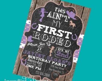 Cowgirl Birthday Invitation Purple This Aint My First Rodeo Girls Cowgirl Birthday Invite