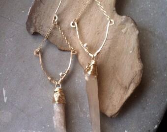 Raw quartz point earrings, Bohemian dangle earrings, Crystal quartz point, 14K gold filled earrings, wire wrapped earrings,, sterling silver