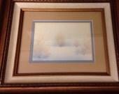 David Barlow (powder blue and gold accents) Tree Sillouhette Landscape Custom Framed Signed original-custom framed discontinued