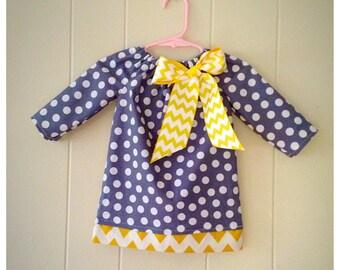 girls peasant dress, baby girl dress, chevron dress, polka dot dress, zigzag,chevron, birthday dress