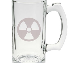 Awesome Nuclear Symbol Toxic Waste Hand Etched Mug 25 oz Beer Stein Glass Cup