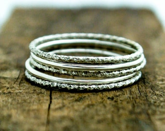 Silver Skinny Stacking Ring Set Faceted Textured Sterling Organic Stacking Rings Argentium Mixed Skinny Stack Rings