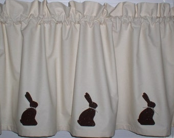 Chocolate Bunny Window Valance Spring Muslin Assorted Sizes Hand Painted Rabbits Easter Decor
