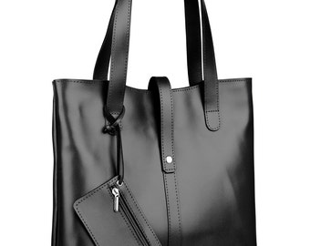 Elegant Simple Leather Bag Black color