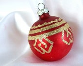 Vintage Shiny Brite Christmas Ornament - Matte Red with Geometric Gold Glitter Chevrons Ornament
