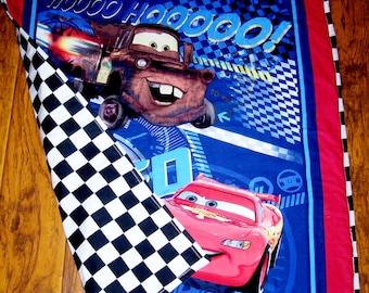 "Boys Disney Cars Lightening McQueen Mater* Blanket 36""x44"" Checker Board Finish Flag Backing crib bedding toddler travel napping blanket"